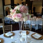 Tall centerpiece, reception centerpiece, floral stand, pink roses centerpiece