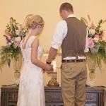 tall alter arrangements, pink wedding alter arrangement