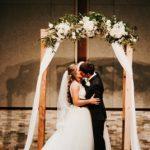 Wedding arbor with white flowers
