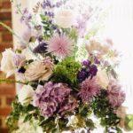 Altar arrangement with lavender flowers