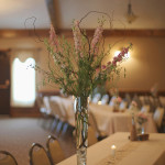 Curly willow and pink larkspur tall centerpiece