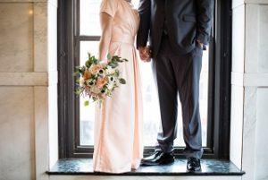 faux anemone, peach roses, wedding bouquet