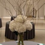 tall centerpiece, hydrangea, curly willow