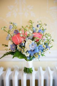 blue and pink bridal bouquet, spring wedding flowers