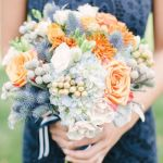 blue and peach bridal bouquet