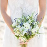 blue and white bridal bouquet