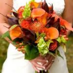 orange calla bridal bouquet, fall wedding flowers