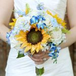 sunflower with blue flowers wedding bouquet