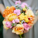 orange yellow pink wedding flowers, orange and yellow bridal bouquet
