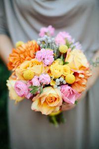 orange yellow pink wedding flowers, orange and yellow bridal bouquet