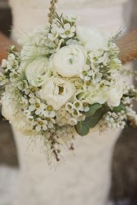 white ranunculus wedding bouquet