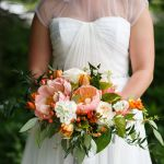 orange shades bridal bouquet