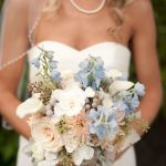 blue, peach & white wedding flowers