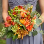 fall wedding flowers, autumn bridal bouquet, orange wedding flowers