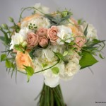 peach flowers bridal bouquet