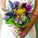 purple yellow bridal bouquet
