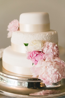peony decorated wedding cake, wedding cake