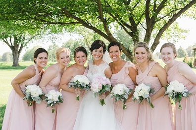 blush wedding colors, peony wedding bouquets