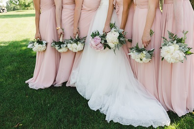 blush wedding, peony wedding bouquet