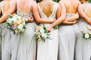 Dove grey bridesmaid color, blush wedding bouquets