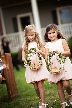 ivy decorated basket, flower girl basket