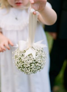 baby's breath pomander, flower girl pomander