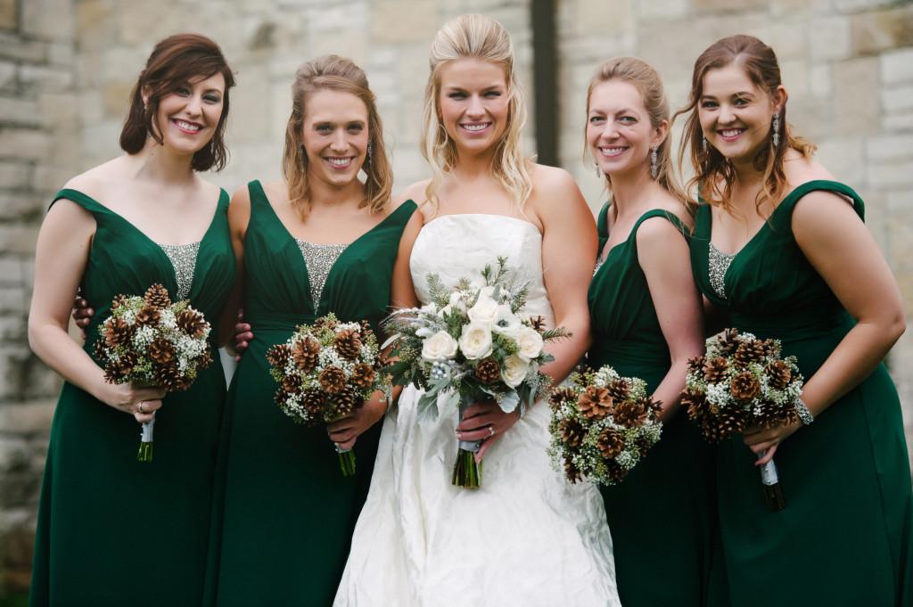 winter wedding, pine cone bridal bouquets