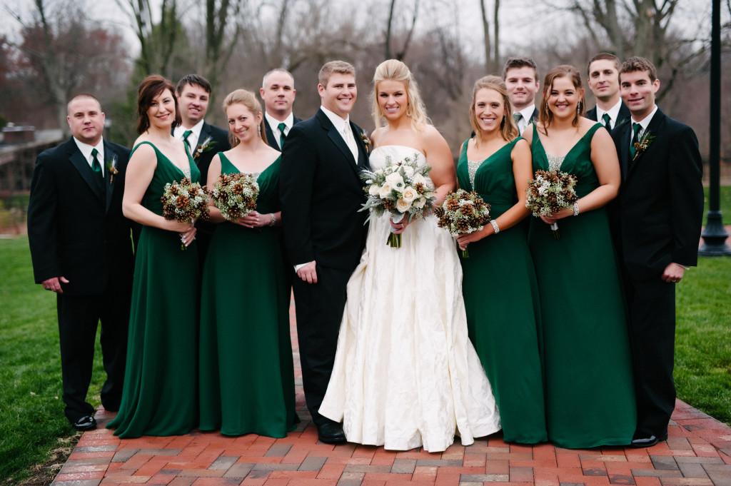 winter wedding, hunter green bridesmaid dresses, pine cone bridal bouquets