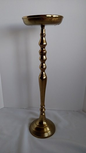 antique gold stand, gold flower stand, tall centerpiece