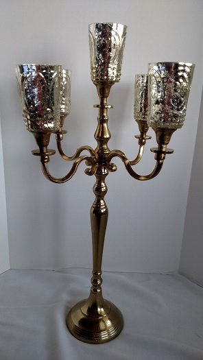 Gold candelabra, candelabra with votive