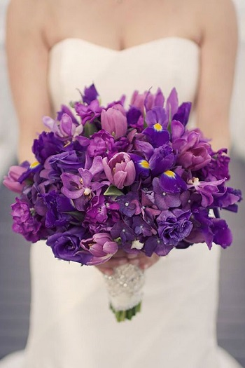 iris bouquet, purple wedding bouquet
