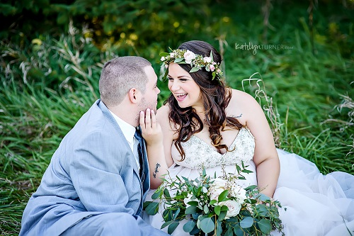 Wedding photo, blush wedding bouquet, floral crown, bride and groom