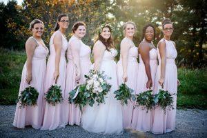 Blush bridesmaid dresses, garden style wedding, eucalyptus bouquets, blush wedding