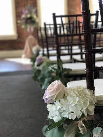 Wedding aisle decor, garland