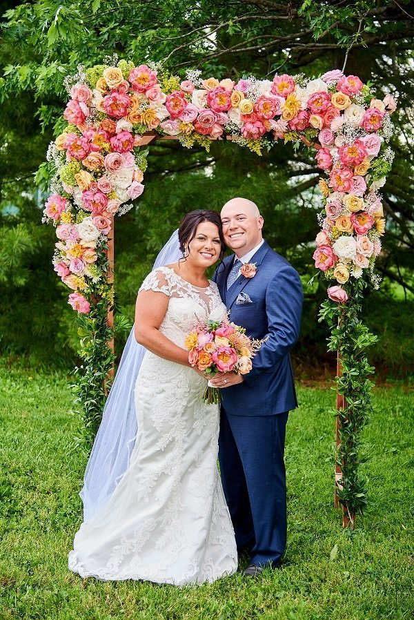 coral flowers, wedding floral arch, wedding decor