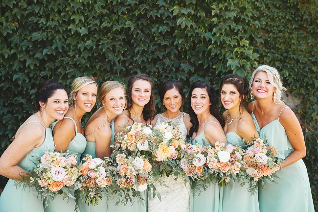 bridesmaids, mint bridesmaid dresses