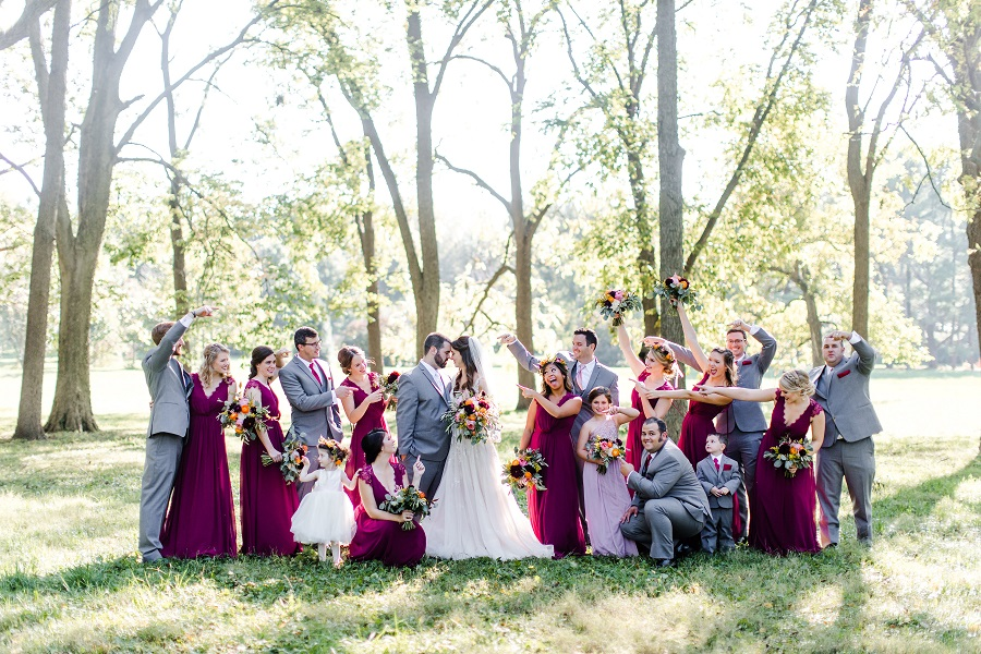 burgundy and gray wedding