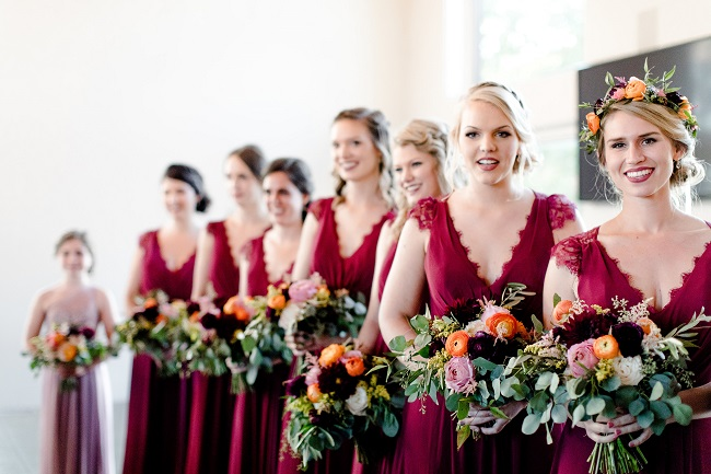 burgundy bridesmaids, bridesmaid bouquets