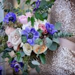 Blue and blush bouquet