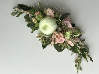 floral hair piece, bridal floral comb