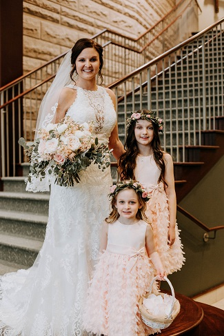 bride and flower girls, floral hair crowns
