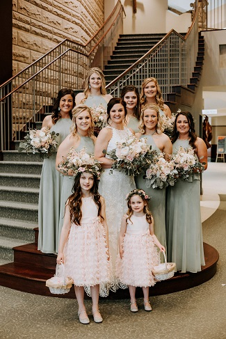 mint green bridesmaid dresses, bridal party photo