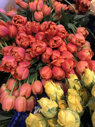 American Grown Flowers, coral tulips, yellow roses
