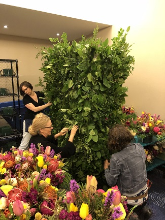 creating flower wall, flower wall, floral wall