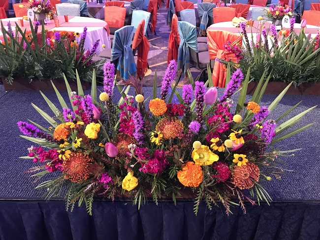 Floral arrangement for promenade, bright colored blooms