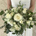 white bridal bouquet, white rose bouquet