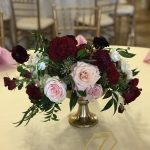 compote centerpiece arrangement, low centerpiece arrangement, wedding decor ideas