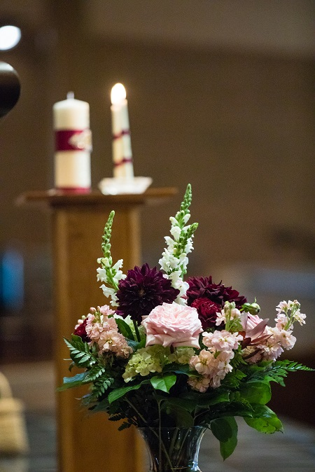 Altar decor, memory vase arrangement