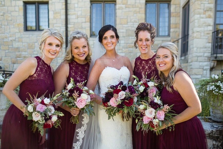 bridesmaids, burgundy bridesmaid dresses