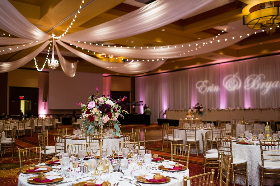 reception decor, tall centerpiece arrangement